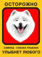 Табличка. Самоедская собака. Собака улыбака (красный фон, оранжевая рамка)