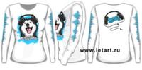 Футболка с длинными рукавами. Аляскинский маламут. Mal Music