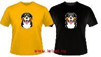 Большой швейцарский зенненхунд Собака Улыбака (бесшовные футболки)
