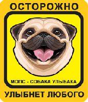 Мопс Собака Улыбака, желто-оранжевый фон